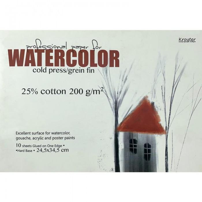 Принадлежности для рисования Kroyter Альбом акварели с добавлением хлопка Watercolor 10 листов