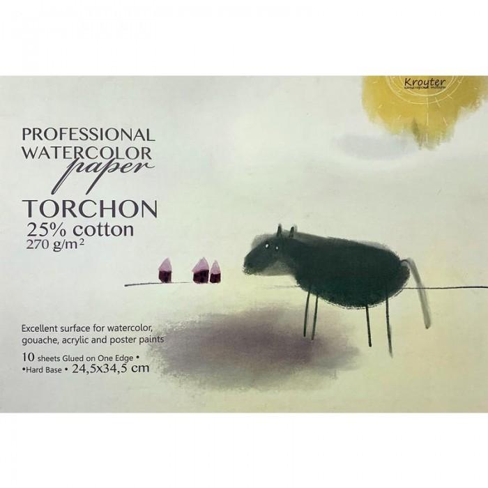 Картинка для Принадлежности для рисования Kroyter Альбом для акварели с добавлением хлопка Torchon 10 листов