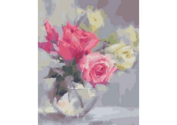 Картины по номерам, Paintboy Картина по номерам Розы в стеклянной вазе  - купить со скидкой