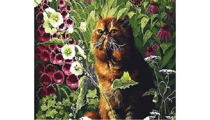 Картины по номерам, Paintboy Картина по номерам Котик в саду  - купить со скидкой