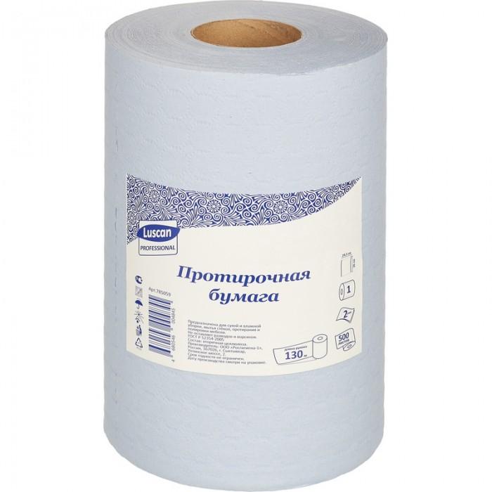 Хозяйственные товары Luscan Professional Бумага протирочная 2-х слойная 500 листов 130 м протирочная бумага tork плюс с центральной вытяжкой 2 слоя 125 м коробка 6 шт