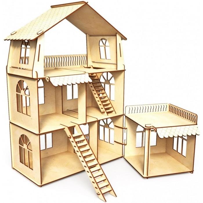 Кукольные домики и мебель ХэппиДом Кукольный домик Коттедж с пристройкой Premium домик когтеточка меридиан угловой д 436 зе трехэтажный зебра 42 x 42 x 115 см