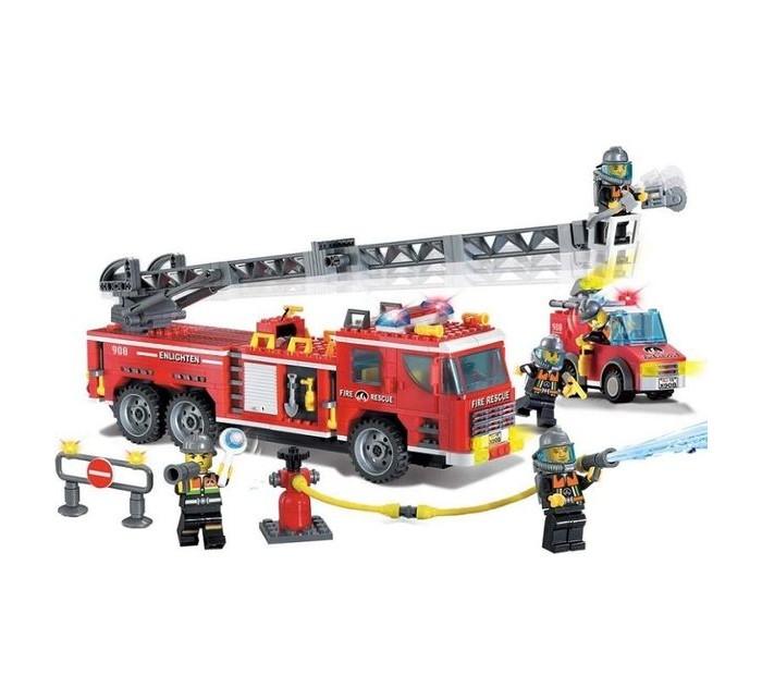 Конструкторы Enlighten Brick Пожарная машина с фигурками и аксессуарами (607 деталей) конструкторы enlighten brick полицейская машина с фигурками 190 деталей