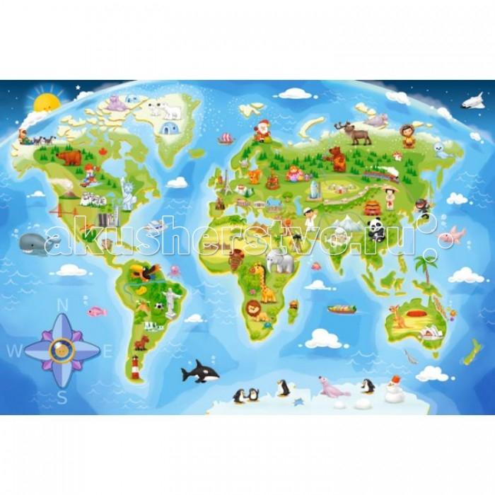 Пазлы Castorland Пазл MAXI  Карта мира 40 элементов castorland пазл забавный экскаватор 12 деталей maxi castorland