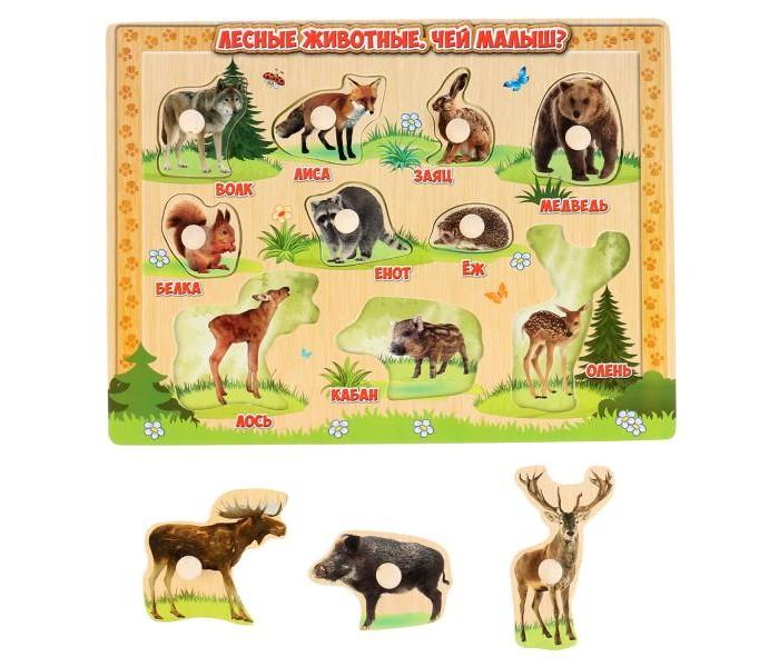 Деревянные игрушки Буратино игра-вкладыш Лесные животные