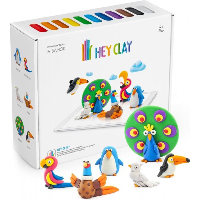 Hey Clay Воздушный пластилин для лепки Залипаки Птицы 18 банок