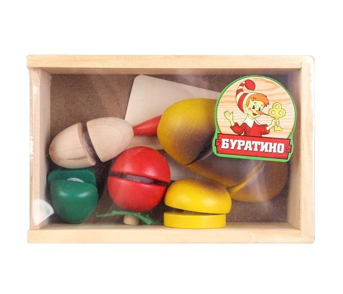 Деревянные игрушки Буратино овощи на липучке