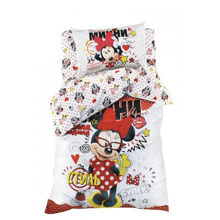 Постельное белье 1.5-спальное Disney 1.5 спальное Модница Минни Маус (3 предмета) 1343356 постельное белье 1 5 спальное disney микки маус и его друзья микки и минни 1 5 спальное 3 предмета