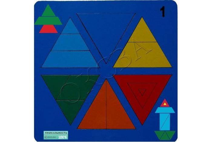 Деревянные игрушки Оксва Сложи треугольник №1 сложи узор по форме и цвету