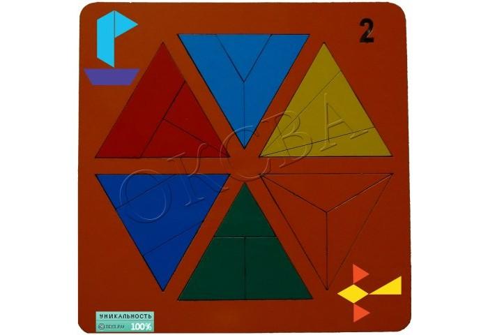 Деревянные игрушки Оксва Сложи треугольник №2 сложи узор по форме и цвету