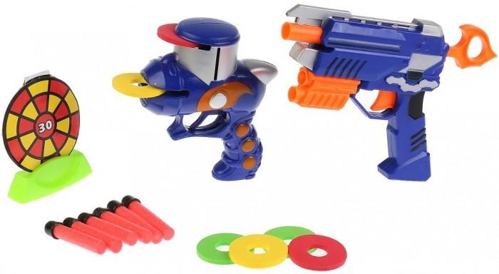 Игрушечное оружие Играем вместе Бластер-тир с мягкими пулями, дисками и мишенью B630505-R игрушечное оружие играем вместе бластер с мягкими пулями b1784019 r