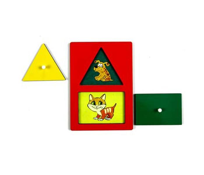 Деревянные игрушки Оксва Секретики Щенок-котенок Треугольник-прямоугольник
