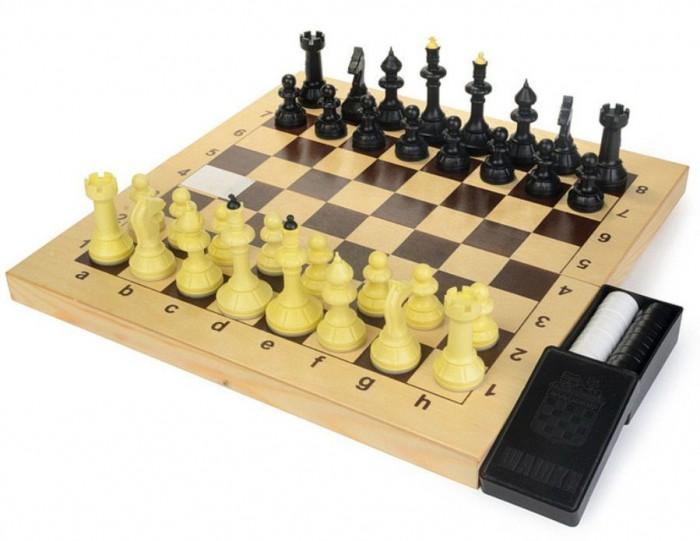 Настольные игры ВладСпортПром Настольная игра Шахматы, шашки с шахматной доской 40х40 см