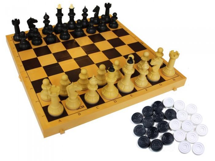 Настольные игры ВладСпортПром Настольная игра Шахматы, шашки с шахматной доской 29х29 см