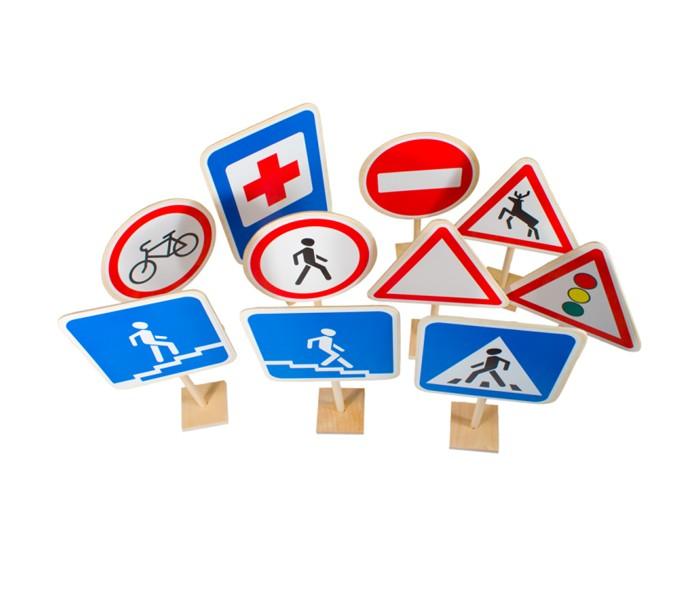 Деревянные игрушки Пелси Дорожные знаки Азбука пешехода 10 шт.
