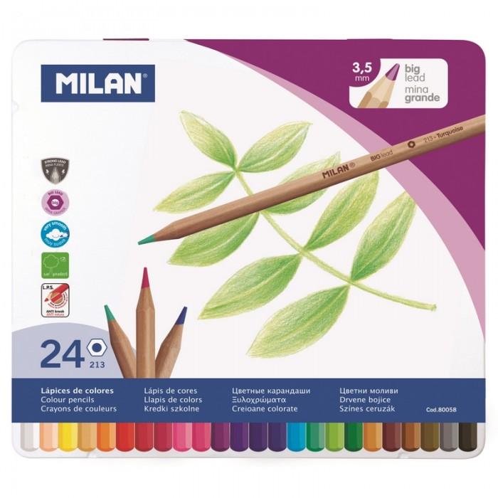 Карандаши, восковые мелки, пастель Milan Карандаши цветные 24 цвета шестигранные в металлической упаковке 80058