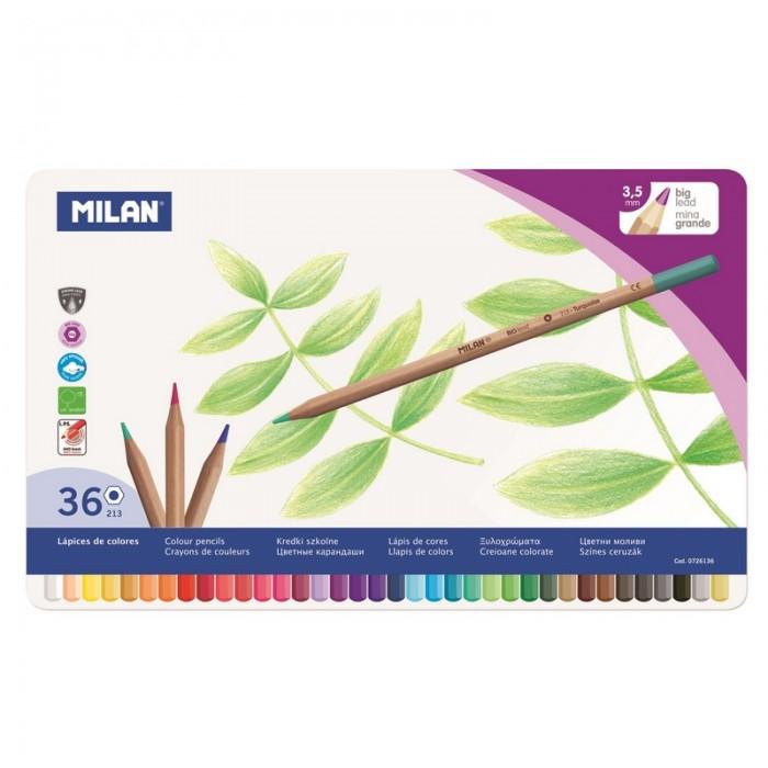 Карандаши, восковые мелки, пастель Milan Карандаши цветные шестигранные 36 цветов в металлической упаковке 0726136