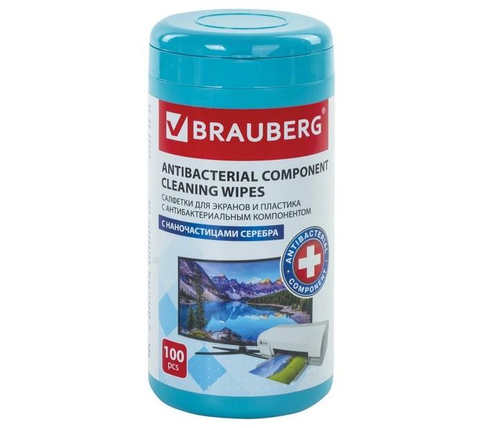 Хозяйственные товары Brauberg Салфетки влажные Антибактериальные для экранов и пластика плотные туба 100 шт.