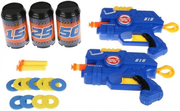 Картинка для Игрушечное оружие Играем вместе Бластер-тир с мягкими пулями, дисками, банками