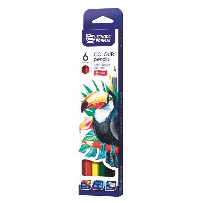 Карандаши, восковые мелки, пастель Schoolformat Карандаши цветные Animals 6 цветов