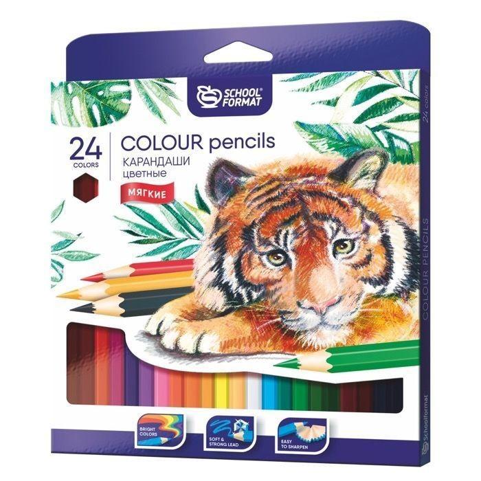 Карандаши, восковые мелки, пастель Schoolformat Карандаши цветные Animals 24 цвета карандаши элефант 24 цвета