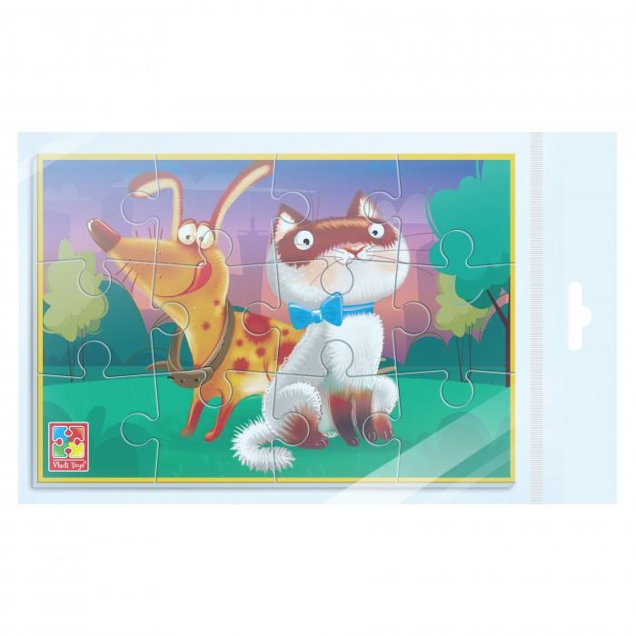 Пазлы Vladi toys Мягкие пазлы А5 Кот и собака (12 элементов)