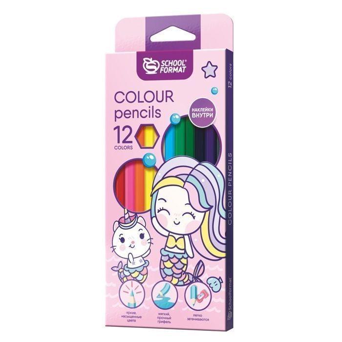 Карандаши, восковые мелки, пастель Schoolformat Карандаши цветные с наклейкой Cute Mermaids 12 цветов