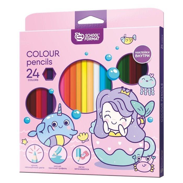 Карандаши, восковые мелки, пастель Schoolformat Карандаши цветные с наклейкой Cute Mermaids 24 цвета карандаши элефант 24 цвета