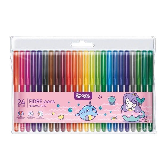 Фломастеры Schoolformat Cute Mermaids с наклейками 24 цвета