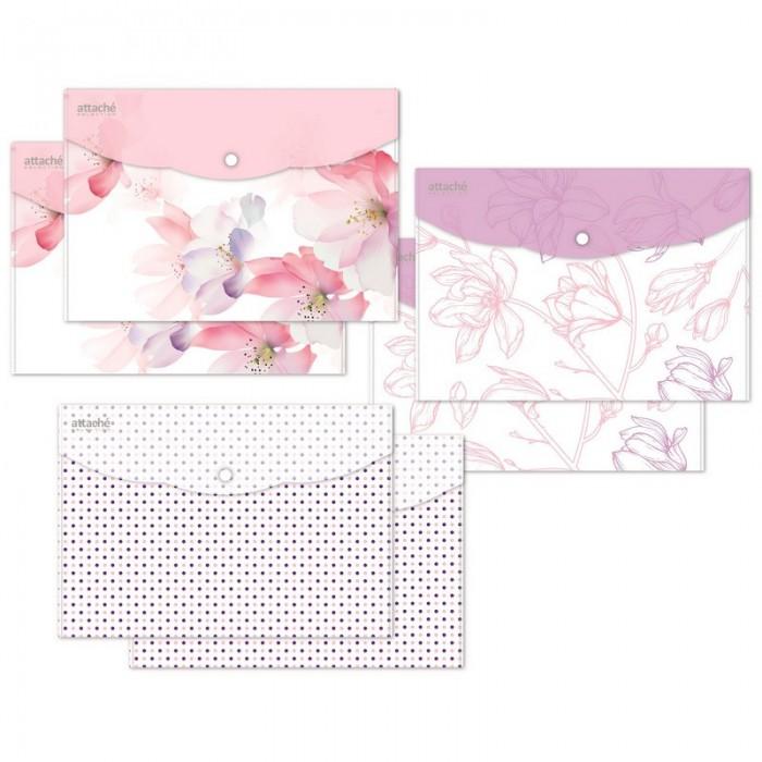 Канцелярия Attache Папка конверт на кнопке Flower Dreams А4 6 шт.