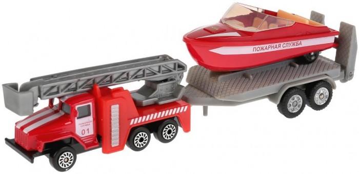Машины Технопарк Набор Пожарная служба Урал с лодкой на прицепе