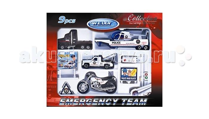 Машины Welly Игровой набор Служба спасения - полиция, 9 шт. welly welly набор служба спасения скорая помощь 4 штуки