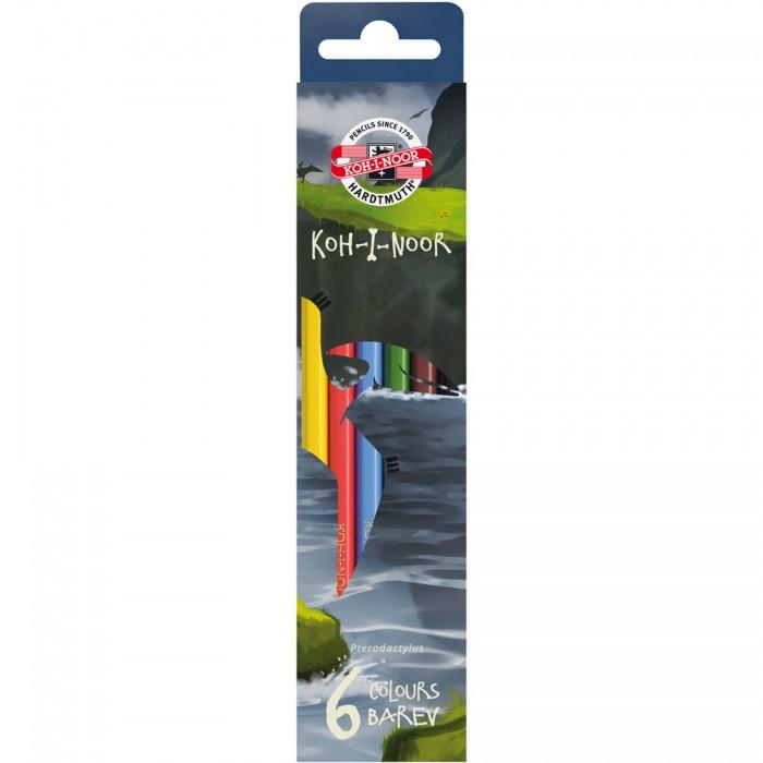 Карандаши, восковые мелки, пастель Koh-i-Noor Набор карандашей цветных Динозавры 6 цветов набор цветных карандашей феникс лошадь 32869 деревянные 6 шт