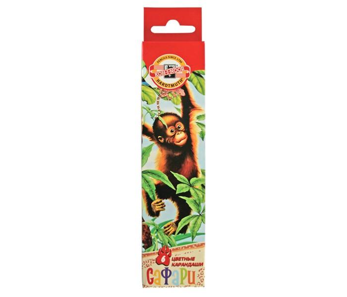 Карандаши, восковые мелки, пастель Koh-i-Noor Набор карандашей цветных Сафари 6 цветов набор цветных карандашей феникс лошадь 32869 деревянные 6 шт