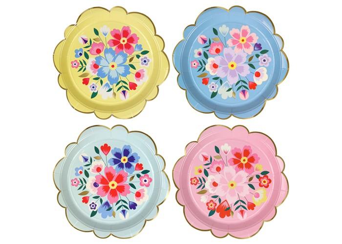 Товары для праздника MeriMeri Тарелки большие Яркие цветы 8 шт.