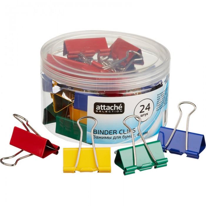 Канцелярия Attache Selection Зажимы для бумаг цветные 41 мм 24 шт. зажимы для бумаг staff комплект 12 шт 41 мм на 200 листов цветные в картонной коробке 225159