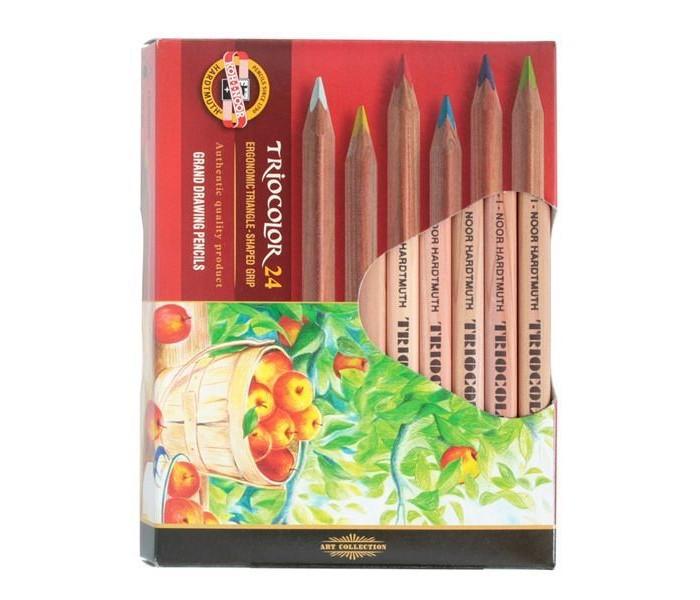 цена на Карандаши, восковые мелки, пастель Koh-i-Noor Набор цветных художественных карандашей Triocolor 24 цвета