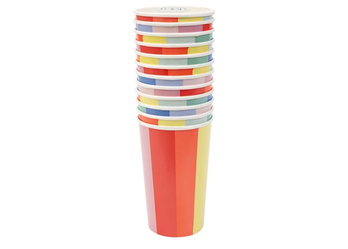 Купить Товары для праздника, MeriMeri Стаканы высокие Цветное колесо 12 шт.