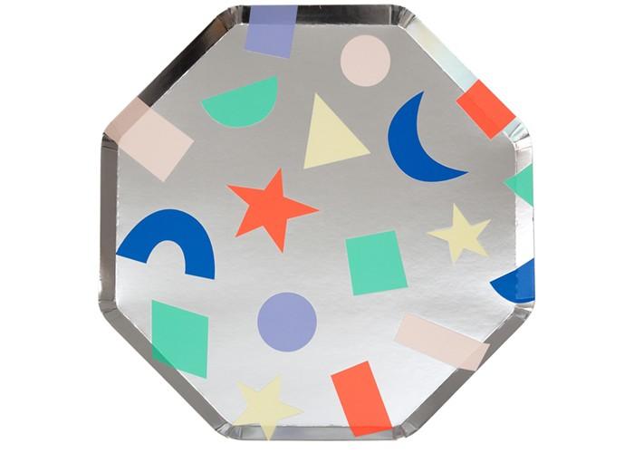 Товары для праздника MeriMeri Тарелки большие Серебряные геометрические 8 шт.
