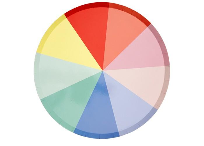Товары для праздника MeriMeri Тарелки большие Цветное колесо 8 шт.