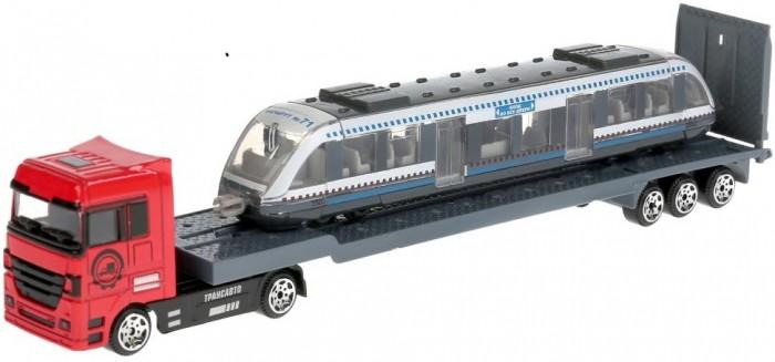 Технопарк Набор металлических машин Тягач с трамваем 24 см