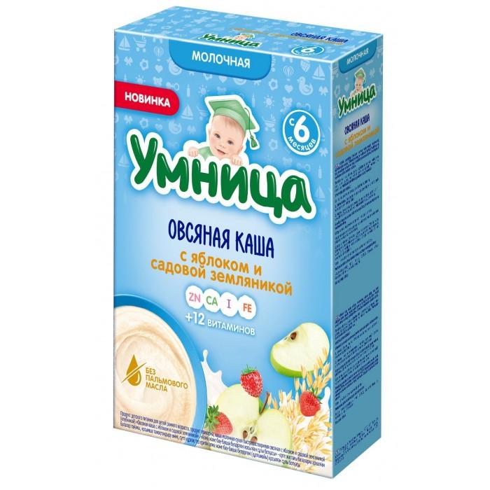 Каши Умница Каша молочная овсяная с яблоком и садовой земляникой 6 мес.