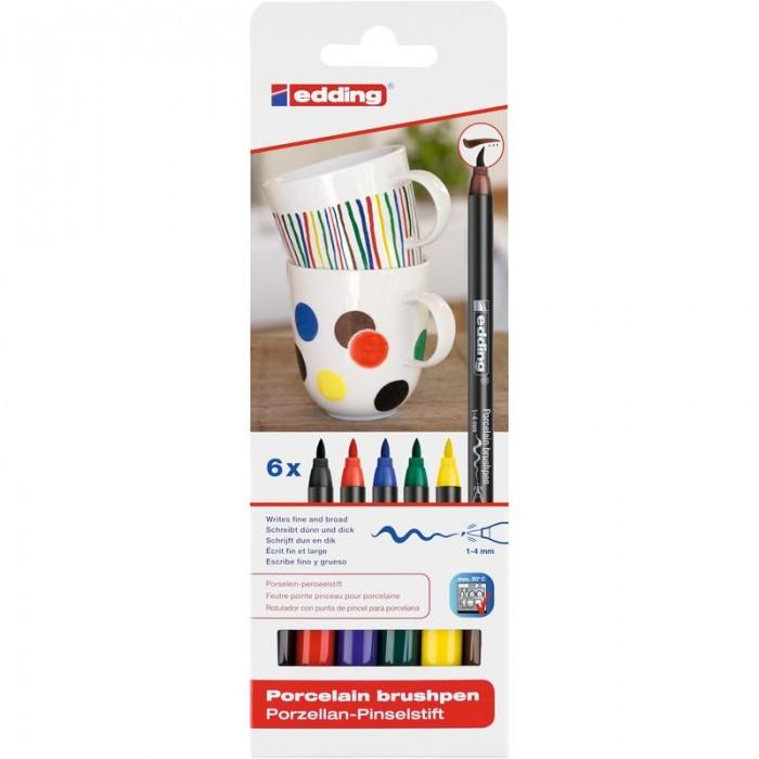 Edding Набор Кисть-ручка для письма по фарфору 6 цветов 4200_1