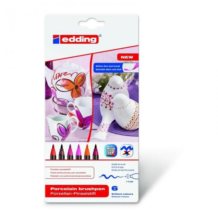 Edding Набор Кисть-ручка для письма по фарфору 6 цветов 4200_2