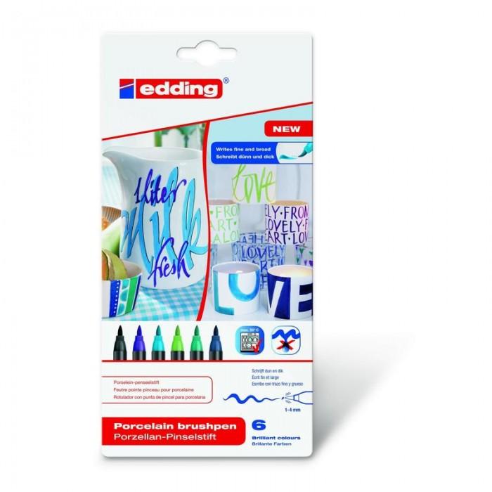 Edding Набор Кисть-ручка для письма по фарфору 6 цветов 4200_3
