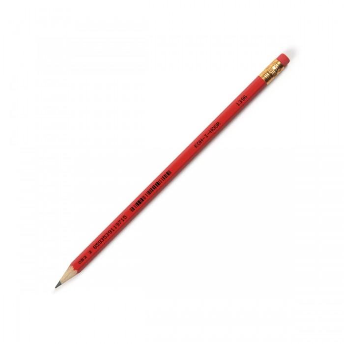Карандаши, восковые мелки, пастель Koh-i-Noor Карандаш чернографитный с ластиком HB 1396