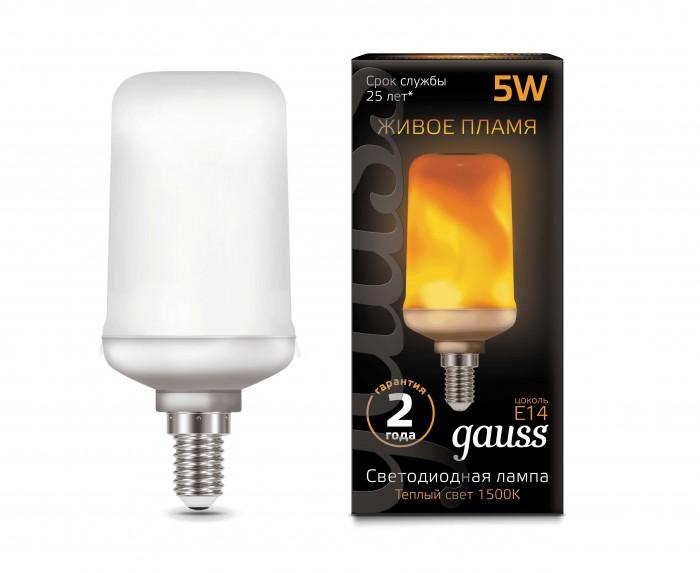 Светильники Gauss Лампа LED T65 Flame 5W E14 20-80 Lm 1500K