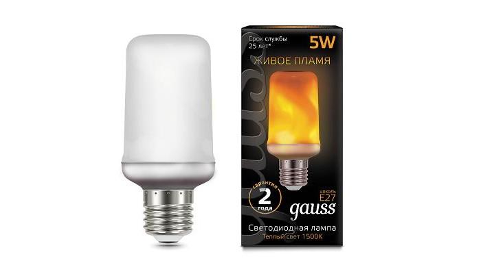 Светильники Gauss Лампа LED T65 Flame 5W E27 20-80 Lm 1500K