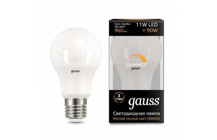 Светильники Gauss Лампа диммируемая A60-dim E27 11W 960lm 3000К