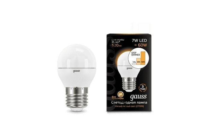 Светильники Gauss Лампа шар LED E27 7W 520lm 3000K Step dimmable